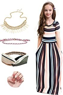 DAISYRALON Girls Stripe Maxi Dress w/Pockets w/Necklace Headband Set