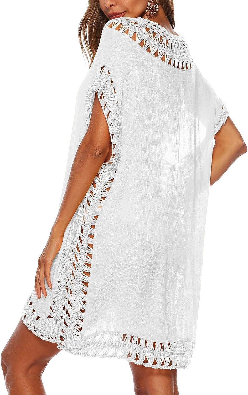 Wander Agio Womens Swimwear Cover up Swim Suit Beach Bikini Coverups Stripe Printing Hollow Out