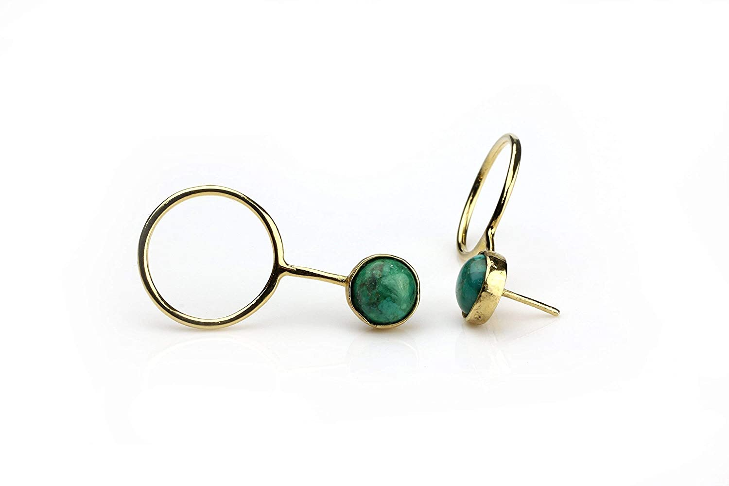Shizing Turquoise Stud Ranking TOP1 Earrings - Department store Gold Geometric 18k fo