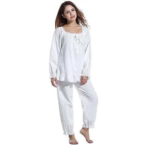 69f8ec35b4 Avidlove Womens Cotton Pjs Victorian Vintage White Long Sleeve Pajama Set  Sleepwear