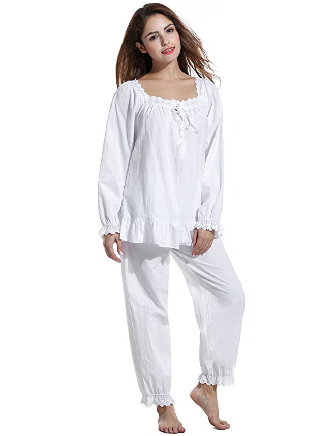 Avidlove Womens Cotton Pjs Victorian Vintage White Long Sleeve Pajama Set Sleepwear
