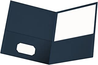 Oxford Twin-Pocket Folders, Textured Paper, Letter Size, Dark Blue, Holds 100 Sheets, Box of 25 (57538EE)