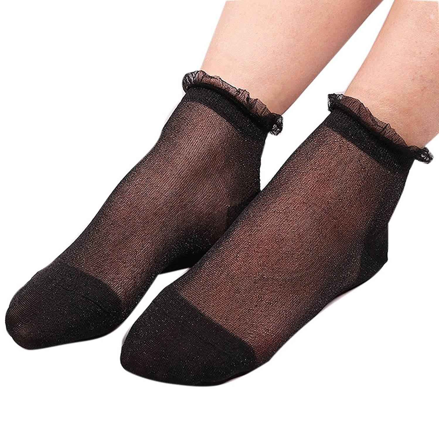NotingBuss Ankle High Sheer Socks, Nylon Silky Spring Summer Short Ankle Hose Stocking Socks Smooth