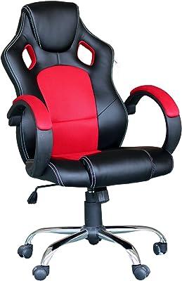 EBS Silla Gaming Ejecutiva Giratoria Altura Ajustable Oficina Escritorio con Diseño ergonómico Respaldo Alto Reposabrazos Tapizado
