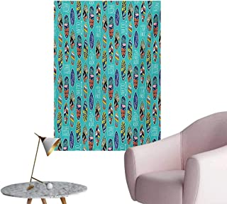 Anzhutwelve Surfboard Wall Paper Aloha Hawaii Live Free Ocean Water Sports Inspired Pattern Coastal InspirationsMulticolor W32 xL36 Space Poster