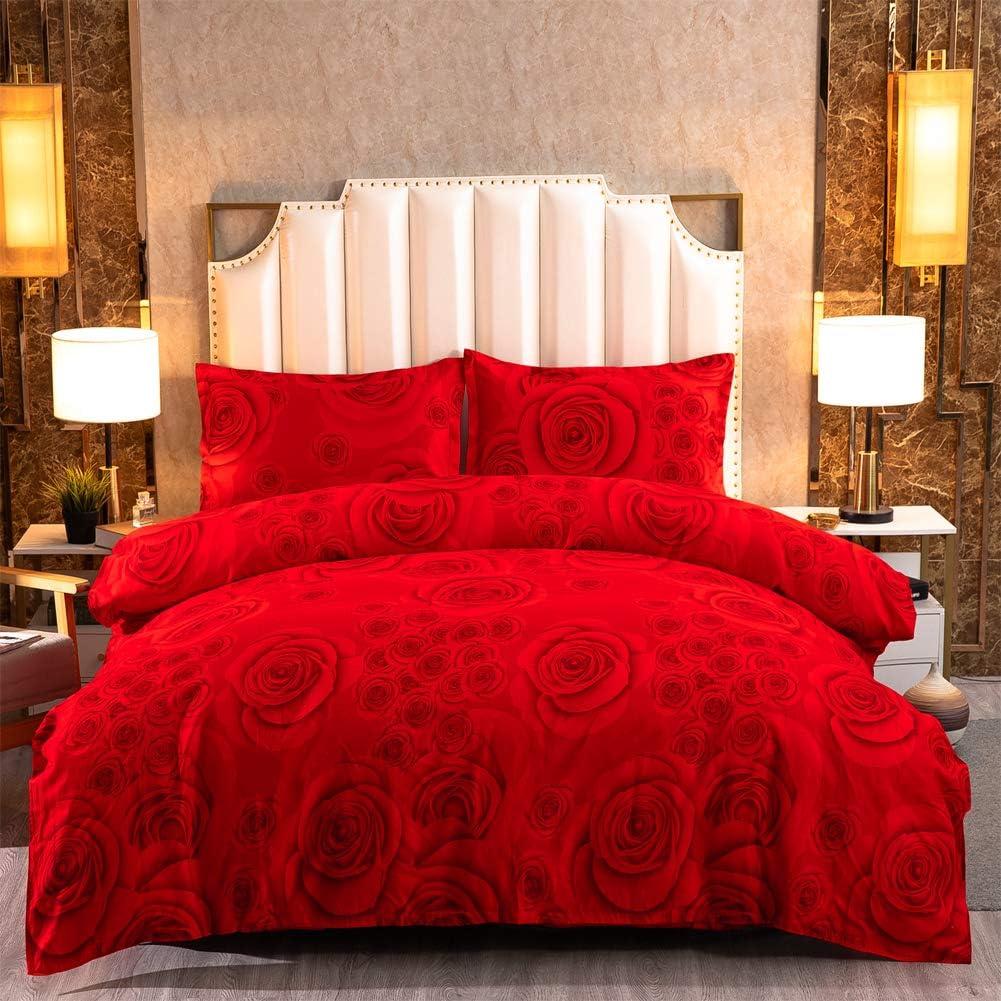 Zhiyuan Queen Duvet Cover Set Rose Under blast sales 140gsm Max 75% OFF Comforter an Red