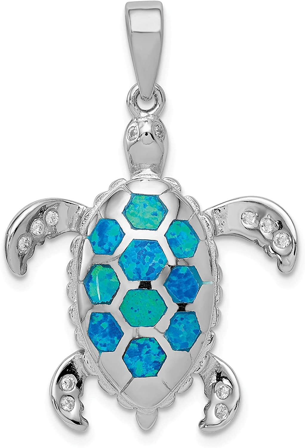 Bonyak Jewelry Sterling Silver Created bluee Opal Inlay & CZ Tortoise Pendant