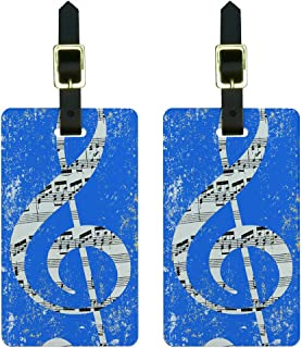 Graphics & More Vintage Treble Clef Music Blue Luggage Tags Suitcase Carry-on Id, White