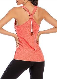 MIDOSOO Women's Basic Workout Athletic Tank Tops Mesh Back Yoga Running Exercise Gym Shirt