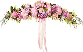 DearHouse Artificial Rose Flower Swag, 25 Inch Decorative Swag with Fake Roses, Green Leaves and Silk Ribbon for Home Room Garden Lintel Wedding Arch Front Door Wall Decor