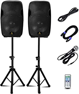 AKUSTIK Dual 2-Way Powered PA Speaker System, Portable DJ Speaker with Active + Passive Speakers, 2 Speaker Stands, Microphone, Bluetooth, USB/SD Card, FM Radio, Remote Control (Dual x 15 Inch)