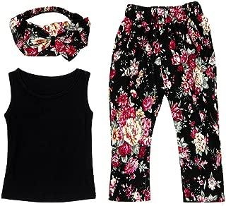 haoricu Girls Clothes, 2017 Summer Baby Girls Sleeveless Shirt/Tops + Floral Pants + Hair Band Clothes Set