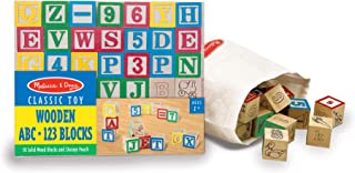 Melissa & Doug Deluxe Wooden ABC/123 Blocks Set (Developmental Toys, Storage Pouch,..