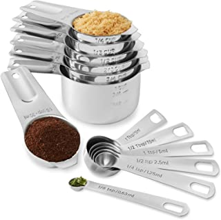 Last Confection 13pc Stainless Steel Measuring Spoon & Cup Set - Kitchen Measurements for Dry Spices and Liquid Cooking & Baking Ingredients