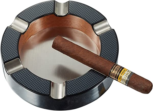 Visol Products Tyrus Carbon Fiber Round Cigar Ashtray
