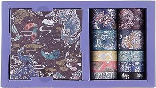 RISYPISY Washi Tape Gift Box Set, Angel Beast Gilded Série Masking Tapes, 10 Rouleaux de Ruban Adhésif Décoratif et 10 Feu...