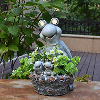 تمثال منحوت للحديقة تمثال سلحفاة لطيف في الحديقة، ديكور على رف الزهور من الأرض إلى السقف، فناء خارجي ضوء الشمس ، هدية رائع...