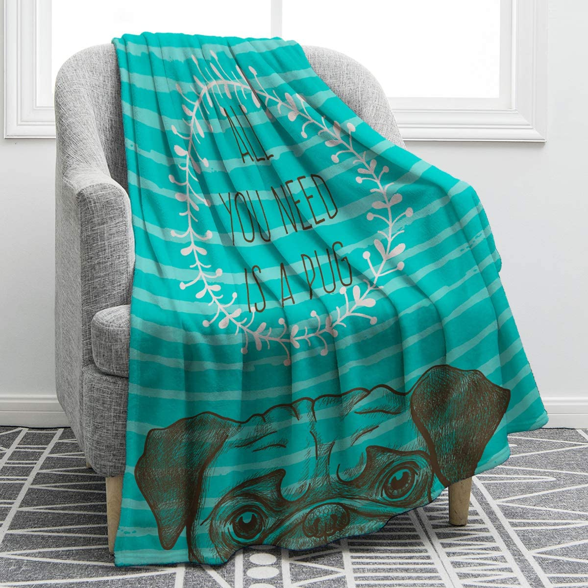 3. Pug Dog - Soft & Smooth Throw Blanket