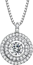 T400 925 Sterling Silver Dancing Diamond Cubic Zirconia from Swarovski Pendant Necklace Gift for Women