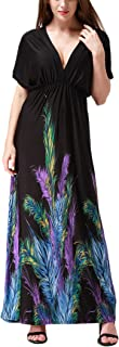 Wantdo Women's Boho Maxi Dress Deep V-Neck Halter Plus