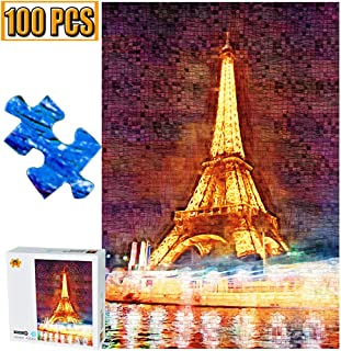 Cool Wall Decal Sticker Vinyl 100 Pieces Jigsaw Puzzles Puzzle Eiffel Tower Artwork Art for Teen Adult Grown Up Jigsaw Puzzle Toy Educational Games Gift 100 PCS Home Decor (Eiffel Tower)