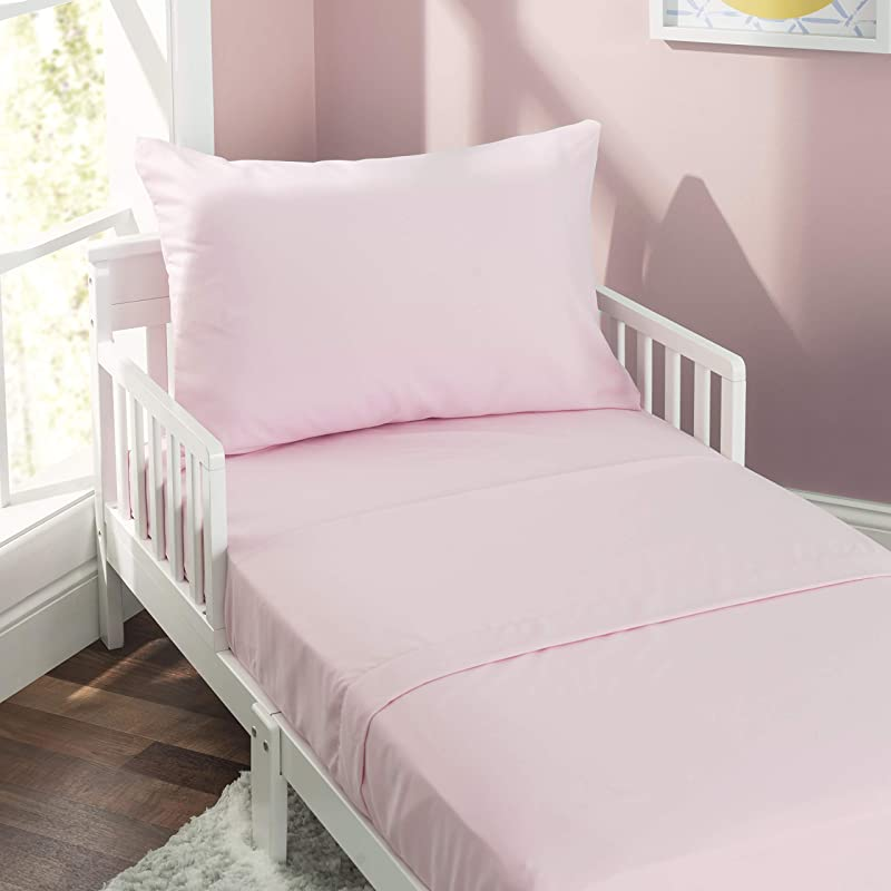 EVERYDAY KIDS 3 Piece Toddler Sheet Set Soft Microfiber Breathable And Hypoallergenic Toddler Bedding Includes A Flat Sheet A Fitted Sheet And A Pillowcase Solid Pink