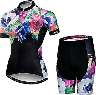 طقم جيرسي لركوب الدراجات للنساء رياضي مبطن جيد التهوية ملابس ركوب الدراجات الصيف