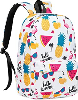 School Backpack for Girls Bookbag fit 15 inch Laptop Teens Kids Travel Daypack Flamingo and Pineapple