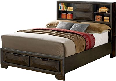 Amazon Com Benjara Contemporary Style Queen Bed With Bookcase Headboard And Drawers Brown Furniture Decor