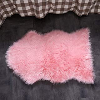 OJIA Faux Sheepskin Fur Rug Soft Fluffy Carpets Chair Couch Cover Seat Area Rugs for Bedroom Sofa Floor Living Room(2 x 3ft,Pink
