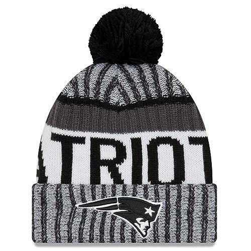 c282ee7d5ad New Era Knit New England Patriots Black On Field Sideline Winter Stocking  Beanie Pom Hat Cap