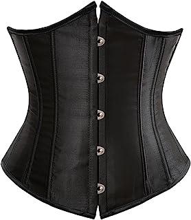 مشد كورسيه بتصميم فينتاج وستيمبنك اسفل الصدر بمقاس كبير، لنحت الخصر والصدر وشد البطن للنساء أسود 5X-Large