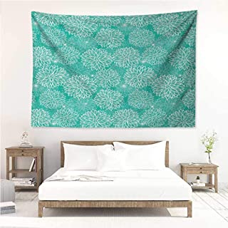 alisos Dahlia Flower,Trippy Tapestries Repeating Figures Fashioned Dots Spots Mother Earth Theme Peony Graphic Image 80W x 60L Inch Art Nature Home Decorations White Teal
