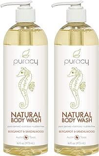 Puracy Natural Shower Gel, Bergamot & Sandalwood, Body Wash for Men and Women, 16 Ounce (2-Pack)