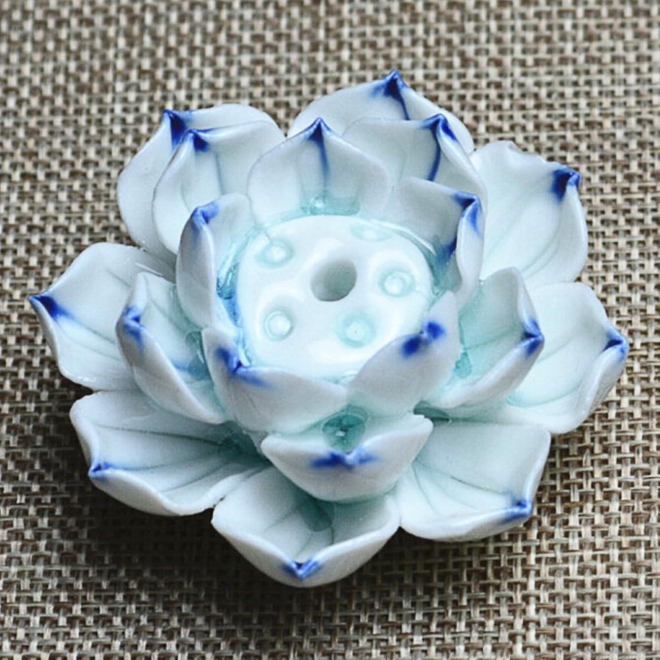 ワーカー誰の従者Liebeye セラミック 香炉 バーナー スティック ホルダー アッシュ キャッチャー プレート 1/3穴 ブルー?パープル ポイントの花