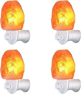 4 Pack Himalayan Salt Rock Night Light Pink Salt Lamp, Hand Craved Natural Salt Rock, UL Certified Wall Plug E12 Base, Amber White Light for Ambiance Lighting, Decoration, Yoga,