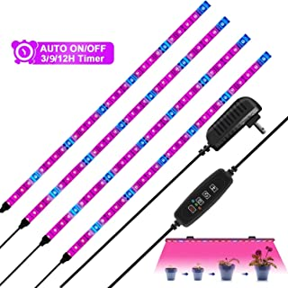 HRDJ LED Grow Light Strips, 4Pcs 1.6ft/Strip Plant Light for Indoor Plants Auto ON&Off with 3/9/12H Timer,10 Dimmable Levels, 24W Flexible Soft Plant Grow Light for Indoor Plants,Plant Growing