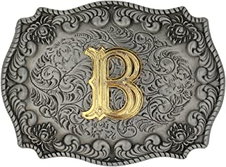 Western Belt Buckle Initial Letters ABCDEFG to Y-Cowboy Rodeo Gold Large Belt Buckle for Men and Women