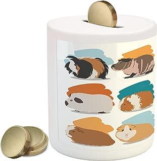 Lunarable Guinea Pig Piggy Bank, Minimalist Illustration Types of Pet Rodents Soft Pastel Coloring Brush Strokes, Ceramic Coin Bank Money Box for Cash Saving, 3.6