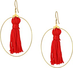Kenneth Jay Lane Gold Hoop w/ Red Tassel Fishhook Earrings