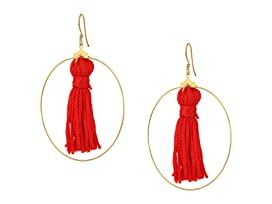 Gold Hoop w/ Red Tassel Fishhook Earrings