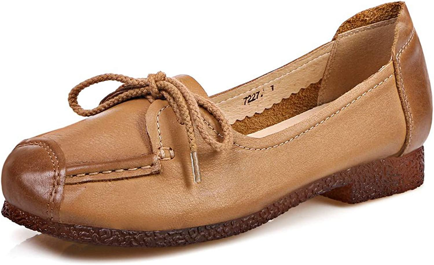 VIMISAOI Women's Genuine Leather Casual Lace-up Soft Soles Flat Loafer shoes