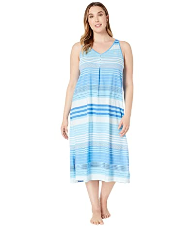 LAUREN Ralph Lauren Plus Size Sleeveless Button Neck Ballet Gown (Blue Stripe) Women