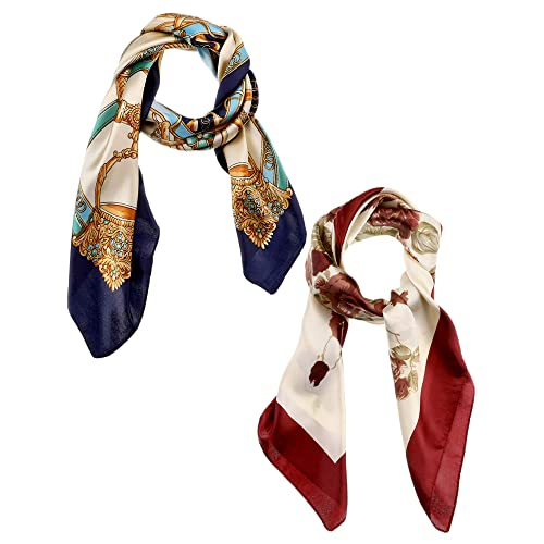 c3c8c6715be54 2 Pieces Large Square Scarf Silk Satin Printed Scarf for Women Girls Favors  (Color Set