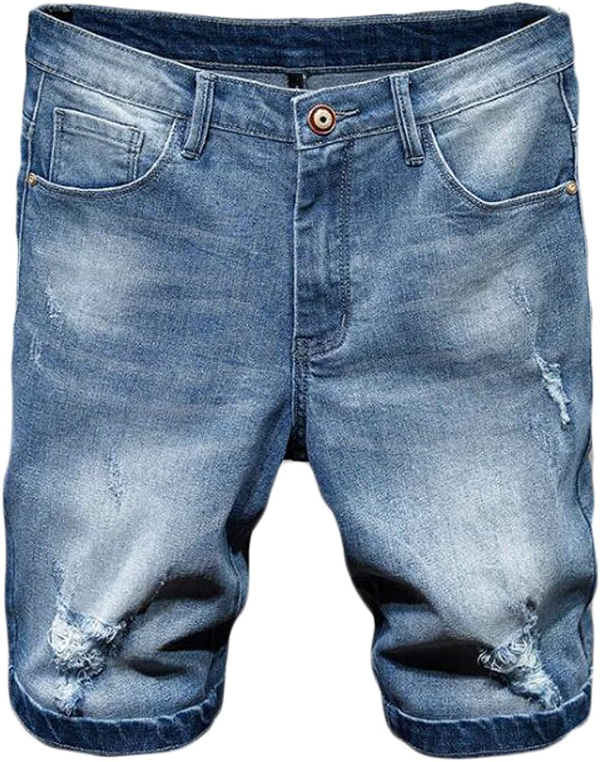 BYWX-Men Jeans Denim Light Ripped Distressed Washed Shorts