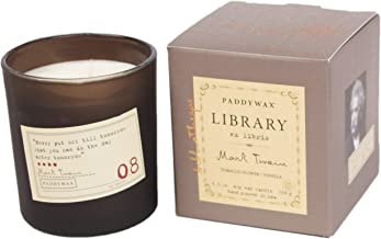 Paddywax Library Collection Mark Twain Scented Soy Wax Candle, 6.5-Ounce, Tobacco Flowers & Vanilla