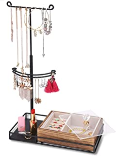 Keebofly Jewelry Organizer - 2 Tier Jewelry Holder Stand Metal & Large Storage Jewelry Box for Necklaces Bracelet Earrings Ring - Carbonized Black