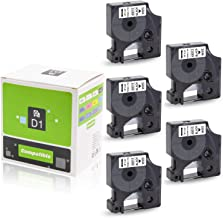 Pristar 45013 12mm x 7m 1/2' x 23' Black on White Tape, 5-Pack, Compatible DYMO Standard D1 45013 Labeling Tape, for Label Maker LabelManager 160 210 280 260P 360D 420P PNP LabelWriter 450 Duo Turbo