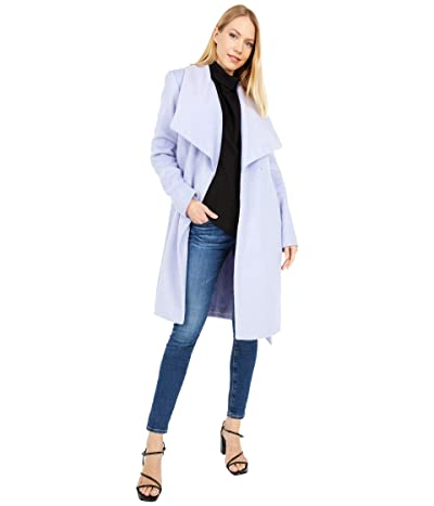 Cole Haan Slick Wool Wrap Coat w/ Exaggerated Collar (Lavender) Women