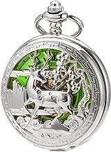 SIBOSUN Vintage Pocket Watch Mechanical Double Cover Skeleton Christmas Reindeer Deer Men Women, Silver